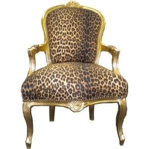 Barock Salon Stuhl Leopard/Gold Ludwig XIV Stuhl Wohnung Wohnen Rokoko