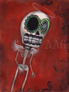 Print Painting SKULL DAY OF THE DEAD ART SUGAR ANGEL