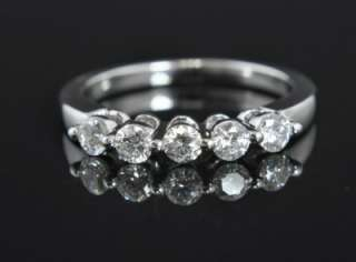 14K White Gold Diamond 5 Stone Wedding Band Stack Ring 7