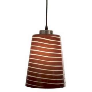 Checkolite 1 Light Brown and White Striped Hanging Pendant 25336 71 at