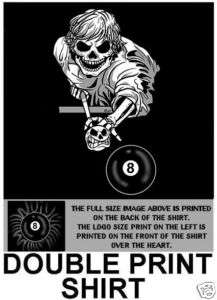SKELETON SKULL 8 BALL POOL PLAYER CUE T SHIRT S147D