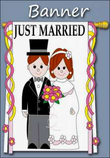 just married banner product specifications high quality with appliqued