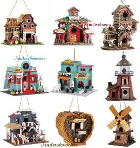 Bird House Buildings Perch Animal Shelter Tree Yard Art Hanging Decor