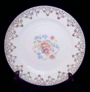 Royal Blue Pink Floral 22K Gold Filigree Plate