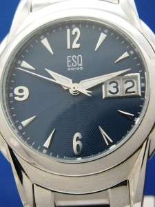 Mans ESQ by Movado Swiss E5288 Stainless Watch W/ Blue Dial (45524
