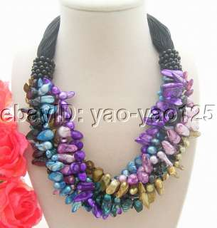 Beautiful 6Strds Multi Color Shell Pearl Necklace