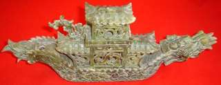 Antique GREEN JADE CHINESE DRAGON BOAT CARVING Incense Burner Censor