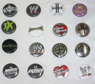 Lot of 16 button pins with WWE Box   John Cena DX Rey