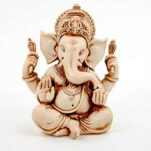 Ganesh Hindu Elephant White Resin Stone HIGH QUALITY God Indian