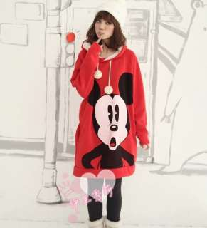 New Women Cartoon Mickey Mouse Hoodie Long Top Outerwear ZGX73RED