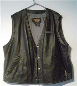 Harley Davidson Mens Geniune Leather Motorcylce Biker Vest Jacket XXL