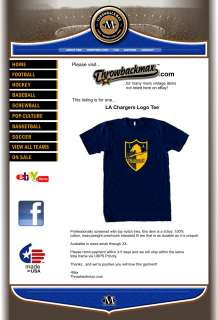 Los Angeles Chargers Logo Tee Shirt   San Diego AFL