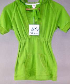 DEAR BY AMANDA BYNES HOODED SHORT SLEEVE SWEATSHIRT GREEN SIZE X LARGE