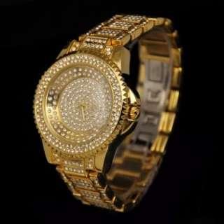 Crystal Women / Men Gold Color Steel Watch w Box Classic Fashion Pop