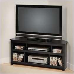 Prepac Vasari Flat Panel Plasma / LCD Corner TV Stand in Black [248246