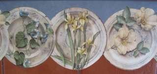 DIE CUT FLOWERS PLATES COUNTY Blu DINNER WARE Wallpaper bordeR Wall
