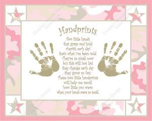 Pink and Khaki Camo Babys Handprints with Poem