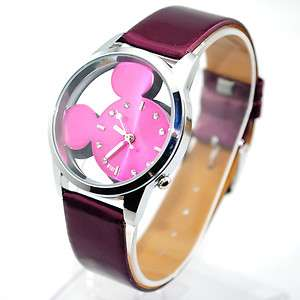 Womens Ladies Girls Wrist Watches Mickey Mouse Hollow Out Dial
