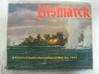 Vintage 1978 BISMARCK Stratgey Battle Game Avalon Hill COMPLETE WWII