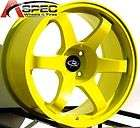 STAGGERED ROTA GRID WHEELS 4X114.3 RIMS 12MM YELLOW FITS NISSAN 240SX
