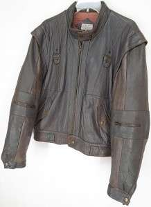 Vtg 70s BELLAVIA® Leather CAFE RACER Motorcycle BOMBER JACKET Gray L