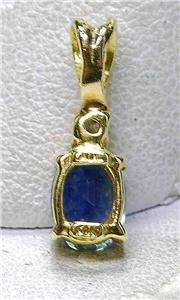 Estate 14k yellow Gold   Diamond & Blue sapphire Ladies Pendant Drop