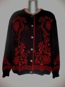 Vintage PENDLETON Black & Red Wool Cardigan Sweater Size 1X Nice