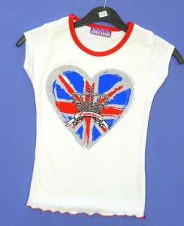 Girls Union Jack Heart Crown Princess Jubilee Cotton T Shirt Top 2 6