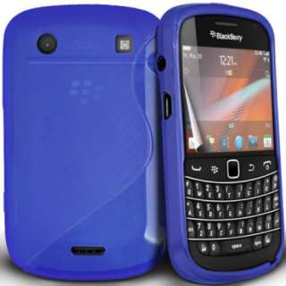 Blue Silicone Grip Case Cover For Blackberry Bold 9900 And Free Screen