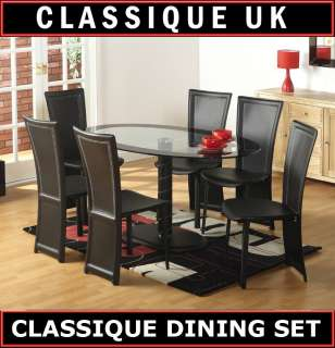 Cameo Oval Glass Black Dining Table Set 4 Chairs