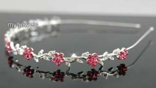 Bridal Wedding Flower Pink Crystal Headband Tiara T1284