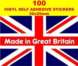 100 Made in Great Britain Union Jack GB Flags car sticker vinyl card