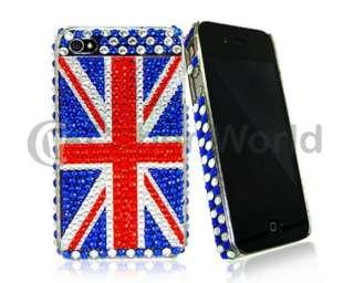 DIAMANTE BLING UK FLAG HARD CASE COVER FOR IPHONE 4 NEW