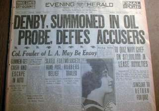 1924 newspaper w BIG Headline TEAPOT DOME OIL SCANDAL