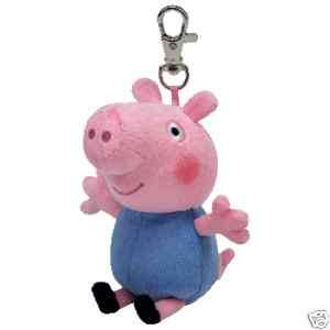 TY BEANIE BABY ~ GEORGE KEY CLIP FROM PEPPA PIG ~ NEW