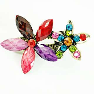 Fashion Woman Flower Gem Crystal Tibetan Silver hairpin Barrette Clip