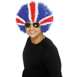 UNION JACK FLAG AFRO WIG IDEAL FOR OLYMPICS AND JUBILEE PARTY RED