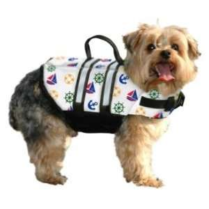 Extra Small Doggy Life Vest   White Nautical: Sports