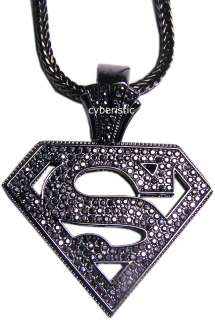 Black Superman Logo Hip Hop Rhinestones Necklace Chain