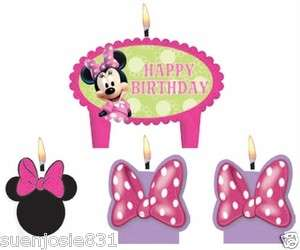 Minnie Mouse Birthday Cake Candles Set Decoration Toppers