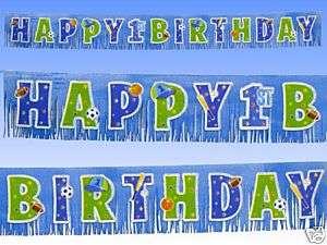 Blue Boy Happy 1st Birthday Glitter Fringe Banner