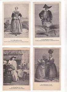 En BRETAGNE COSTUMES Folklorique 4 x CPA PALUDIER 1840