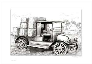OLD FARM TRUCK RUSTIC SHABBY STYLE COUNTRY DRAWING