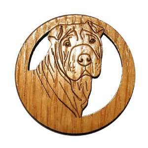 DOG022M Laser Etched Shar Pei Dog Magnets   Set of 6 Kitchen & Dining