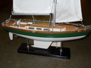 Wooden Sailboat Model Sail Boat Ship Display Ships Office Nautical