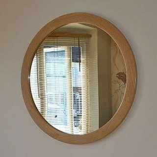 big round oak mirror by squarepear furniture