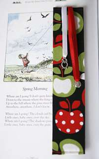 Handmade bookmark available in a fabulous apple print fabric