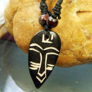 Yak Bone ibe Ehnic Carved Face Pendan & Necklace FS |