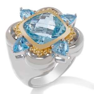 Sky and Swiss Blue Topaz Sterling Silver and Vermeil Ring