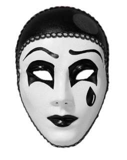 Black and White Pierrot Full Mask  Wholesale Accessories Halloween